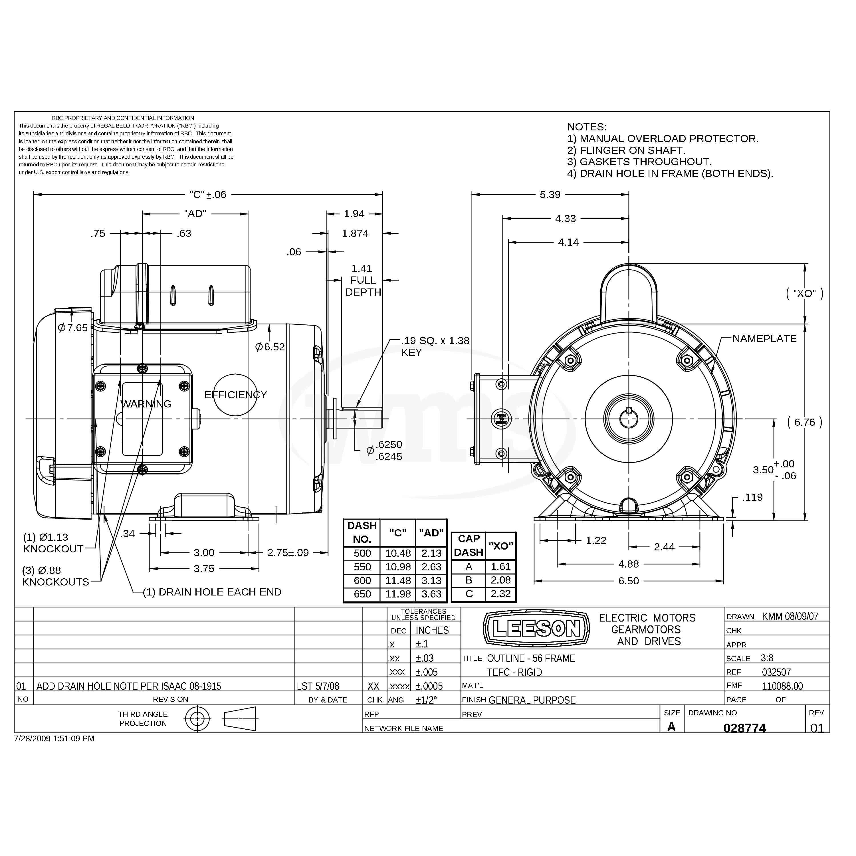 110088.00 1HP Leeson Farm Duty Electric Motor