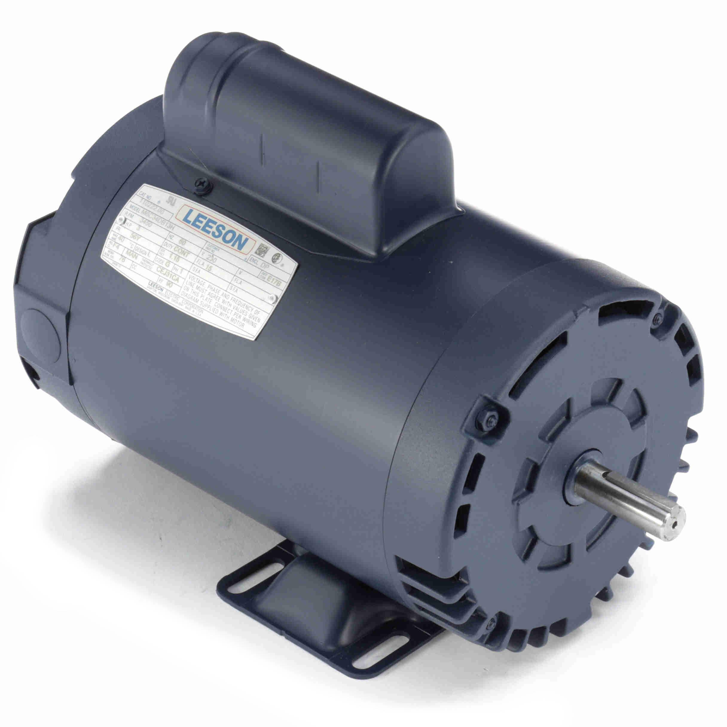 110222 00 Leeson 3HP Compressor Duty Electric Motor