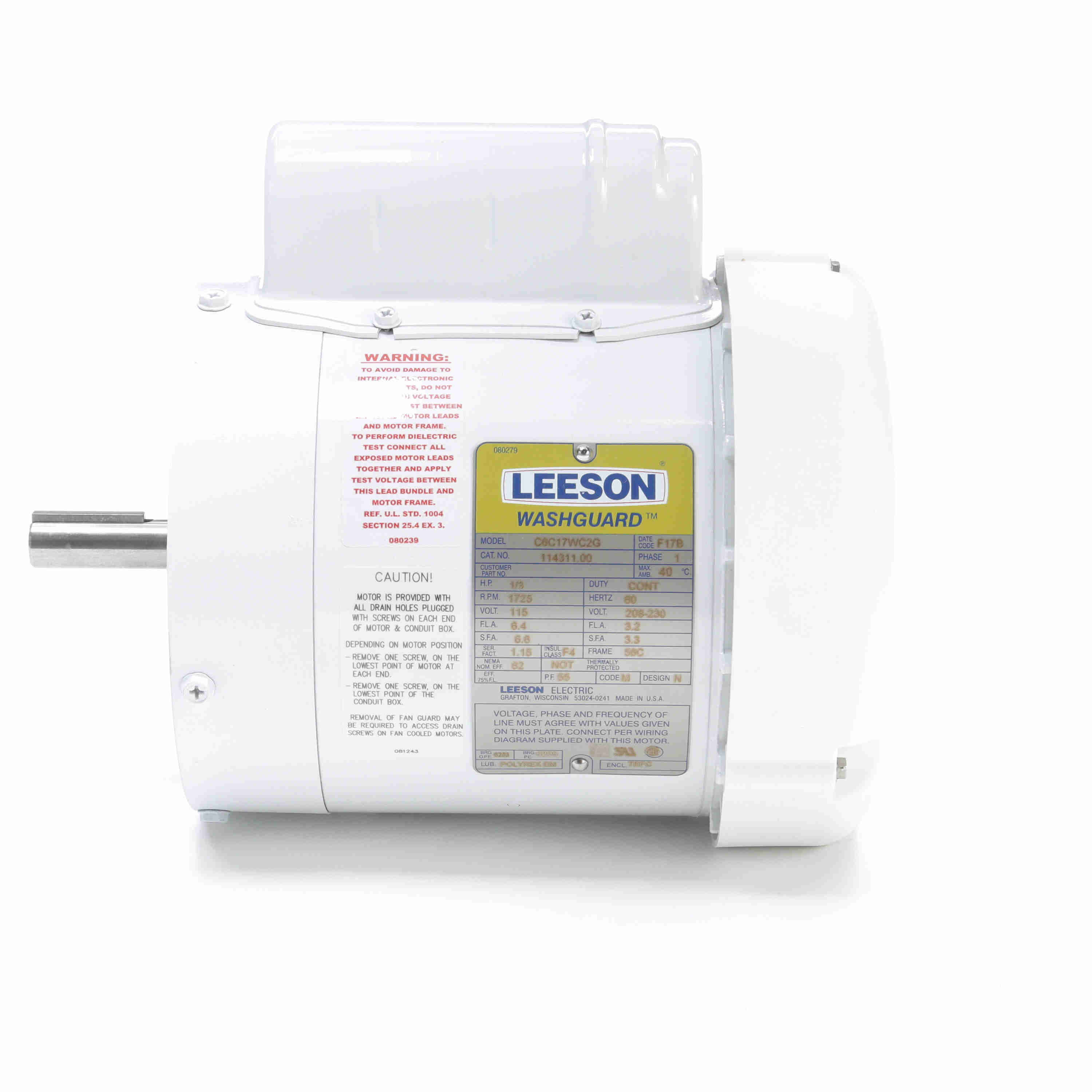 114311.00 Leeson Washguard Motor, 1/3HP, 1800RPM on house thermostat wiring diagrams, capacitor start motor diagrams, single phase capacitor motor diagrams, 3 phase motor winding diagrams, general motors parts diagrams, single phase 115v motor diagrams, 2 hp marathon electric motors wiring diagrams, electric trailer brake wiring diagrams, scosche wiring harness diagrams, 115 230 motor voltage change,