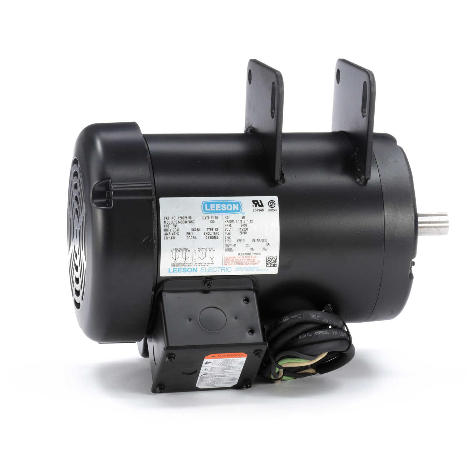 120925 00 Leeson 1  2hp Electric Motor  3450rpm