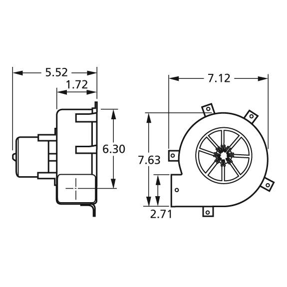 A082 Fasco Centrifugal Blower Electric Motor, 2800RPM