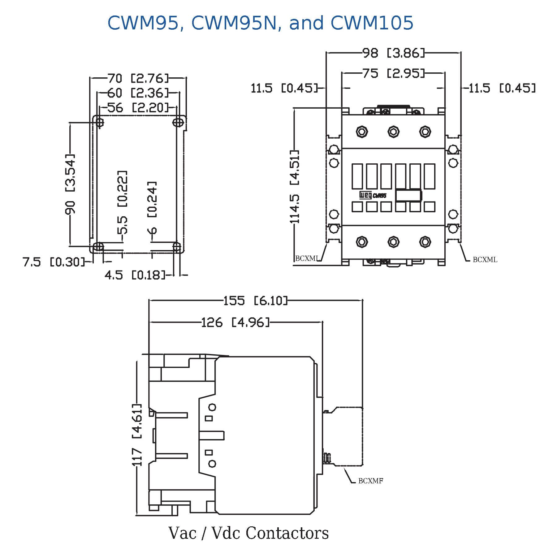 Cwm105 00 30v18 Weg 3 Pole Iec Standard Contactor Wiring Diagram 9