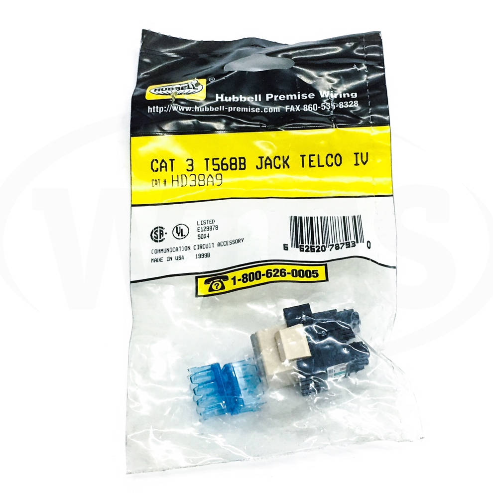 Hd38a9 Hubbell Cat 3 T568b Jack Telco Ivory Wiring A Phone With