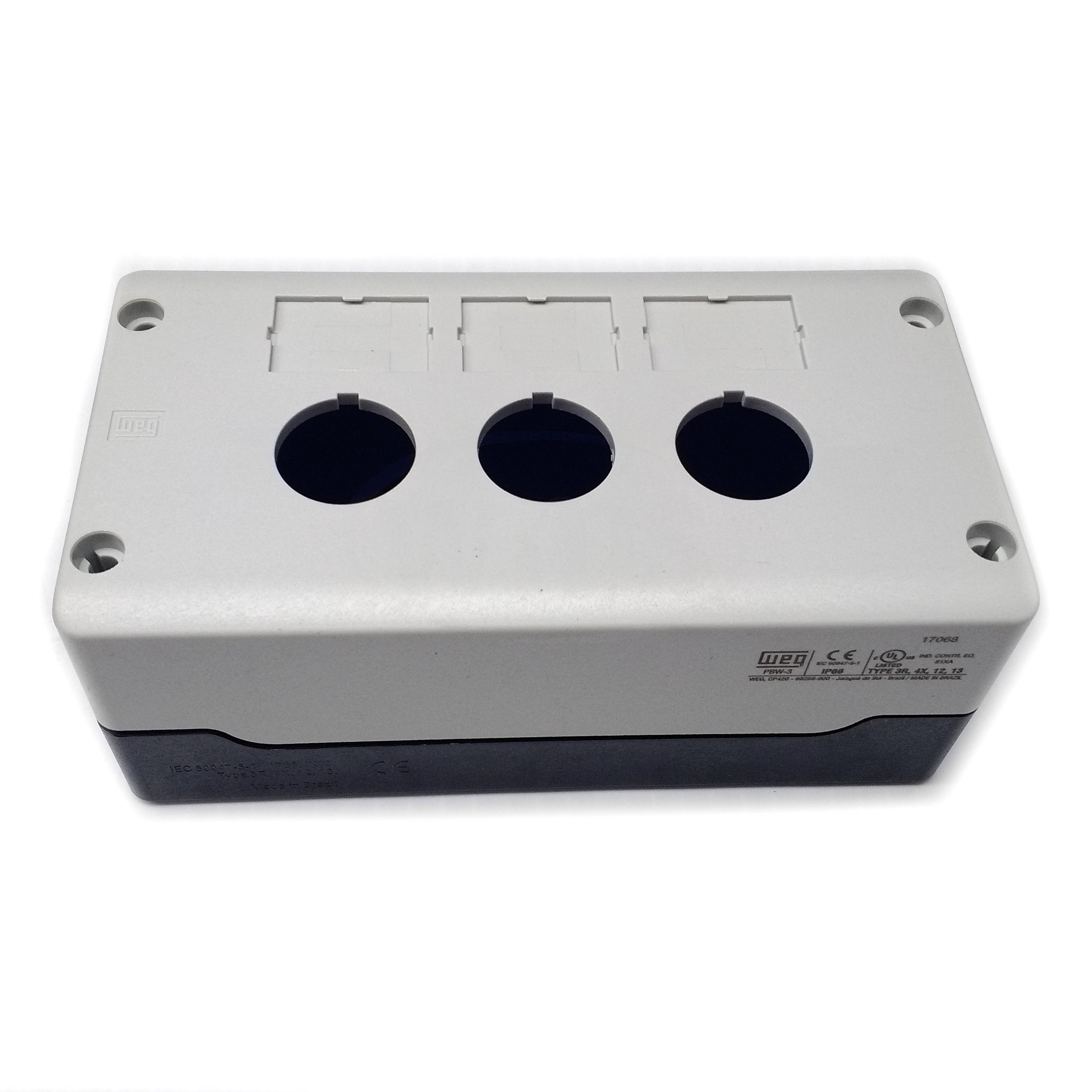 PBW-3 WEG 22mm Gray 3 Hole Pushbutton Enclosure