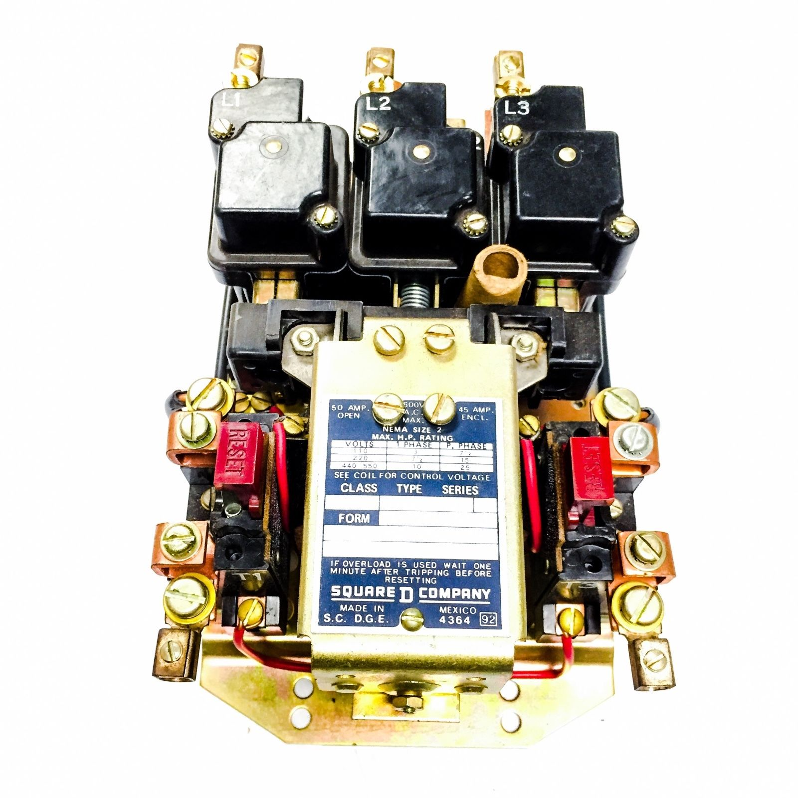 Square D Contactor, Size 2 Class 8536, 120V Coil,